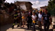 Gordon Brown tours areas destroyed by earthquake in L'Aquila ITALY L'Aquila EXT Various shots of Gordon Brown MP and his wife Sarah Brown touring...