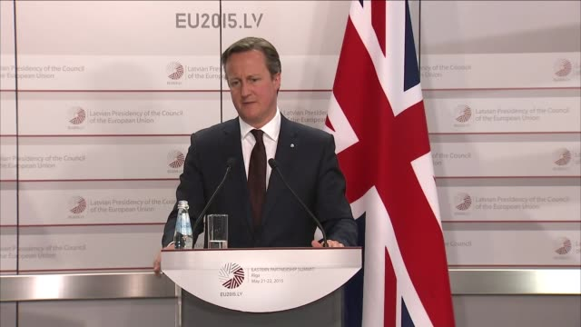David Cameron press conference in Riga David Cameron QA session continued SOT / Cameron leaves room