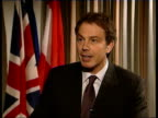UK rebate Ext Blair out of car and along into building Int Tony Blair interview SOT Defend British rebate because its right and fair/ the way this...