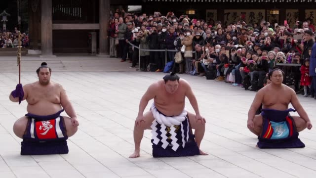 Sumo grand champions make their new year pilgrimage to a shrine pledging to work hard to make Japans national sport a success this year