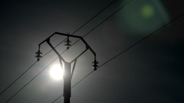 T/L Sun and Power Line silhouette