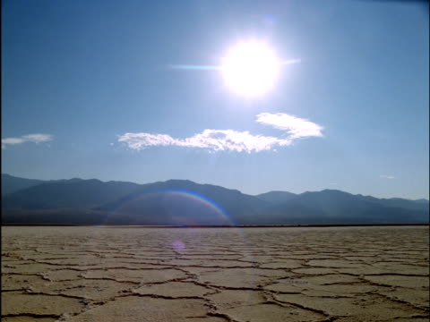 Sun beats down on barren and arid Death Valley, California, USA
