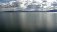 Sun Reflections Over Flathead Lake  - Aerial View - Montana, Lake County, United States