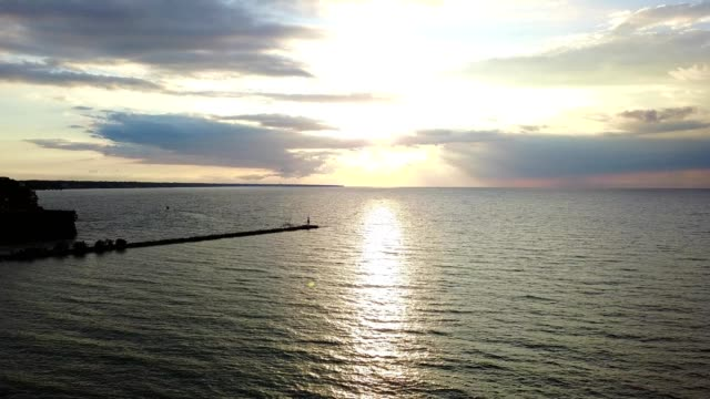 Sun setting over Lake Erie