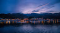 WS T/L Sun setting to night of village around Jeodonghang port at Ulleungdo Island / Ulleung, Gyeongsangbuk do, South Korea