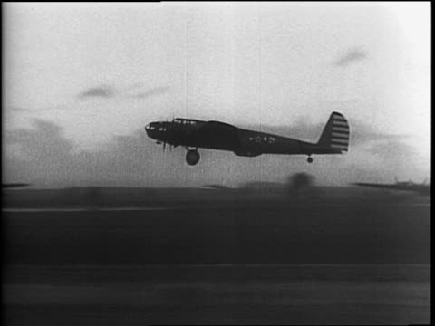 Sun shining through clouds / soldiers running toward and entering the B17 Flying Fortress air bomber The Dawn Patrol / Meteorologists send up a...
