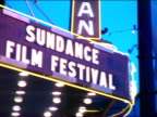 DUSK Sundance Film Festival lettering on Egyptian theater marquee Out/In Focus Repeats from other side of marquee