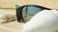 Sunglasses in foreground shells on bench reflection of person