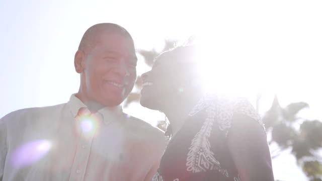 Sunlight Afro American Couple Close Up