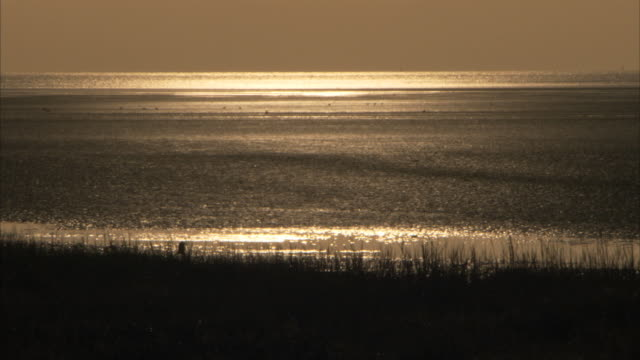 Sunlight glitters on Pegwell Bay in Kent England. Available in HD.