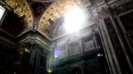 Sunlight inside Basilica of Santa Maria Maggiore in Rome