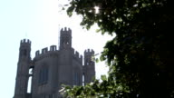 Sunlight penetrates swaying tree branches outside Ely Cathedral. Available in HD.