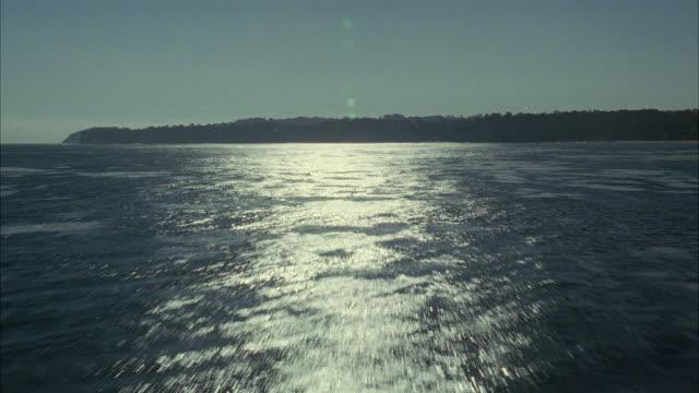 WS POV Sunlight reflecting in sea / California, USA