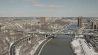 Sunny Daytime Aerial View Up The Harlem River