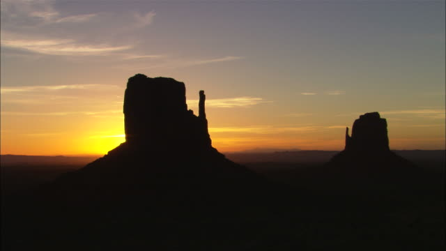 Sunrise at Mittens butte formation, Monument Valley, Utah Available in HD.
