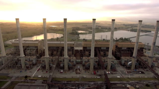 Sunrise at the Hazelwood Power Station in the Latrobe Valley, Victoria.