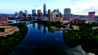 Sunrise Austin Texas Skyline Cityscape Calm Still reflections on Town Lake 4K