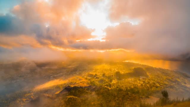 Sunrise on the volcano Batur overlooking Lake Batur, Bali, Indonesia