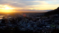WS PAN Sunrise over CBD from Table Mountain to the Cape Town harbour, Cape Town, South Africa