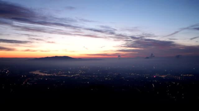 sunrise over city
