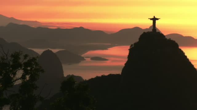Sunrise over Corcovado and Sugarloaf Mountain