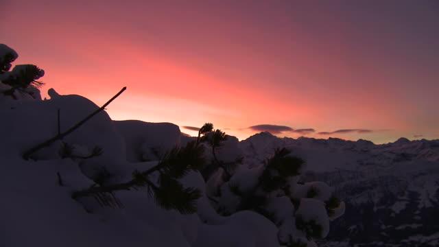 sunrise over mountains, winter