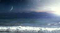 Sunrise over rough seas