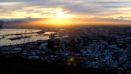 WS PAN Sunrise over the Cape Town harbour to Table Mountain, Cape Town, South Africa