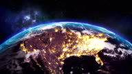 Sunrise over the earth seen from space.Close up of USA zone with night time and sunrise.