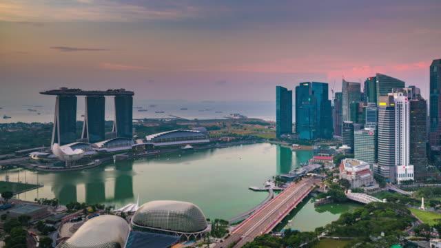 Sunrise Timelapse Encompassing Esplanade, Marina Bay and the City, Singapore