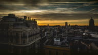 Sunrise timelapse of Madrid cityscape
