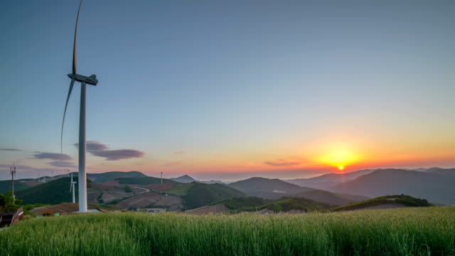 Sunrise view of wind turbine and landscape of Anbandegi (High land at Gangneung)