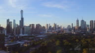 Sunset Aerial view of the skyline of Melbourne, with the Botanical Gardens, Victoria