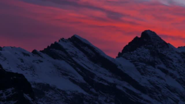 Sunset afterglow from Kleine Scheidegg, Jungfrau region, Bernese Oberland, Swiss Alps, Switzerland, Europe