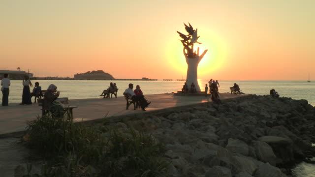 Sunset and Statue, Kusadasi, Turkey