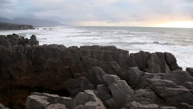 Sunset at Pancake rocks, New Zealand