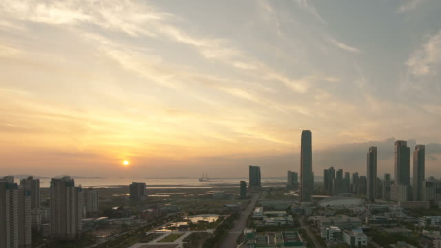 WS T/L PAN Sunset at Songdo Business District / Incheon, South Korea