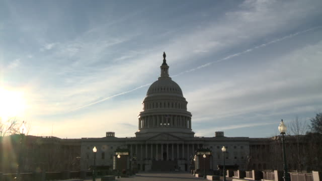 Sunset behind the US Capitol Building on February 13 2011 in Washington DC