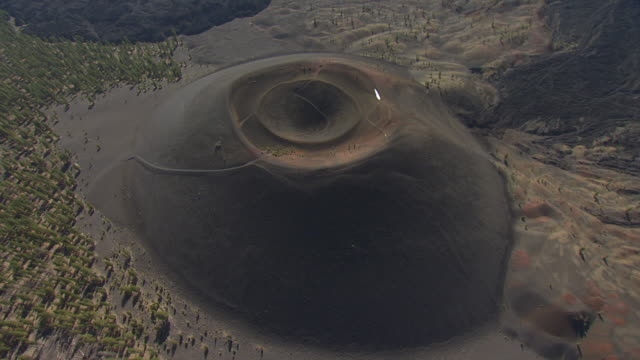 Ws Aerial Pov Sunset Crater Volcano Cinder Cone In Volcano ...