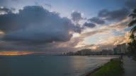 Sunset Hyperlapse at Waikiki, Honolulu, Oahu, Hawaii during a massive Storm