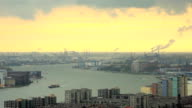 Sunset of Rotterdam Harbor,elevated view