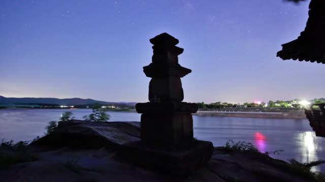 MS T/L TU Sunset of Silleuksa temple and stone pagoda / Yeojugun, Kyonggi-Do Province, South Korea