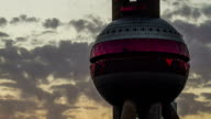 Sunset of the Oriental pearl TV tower