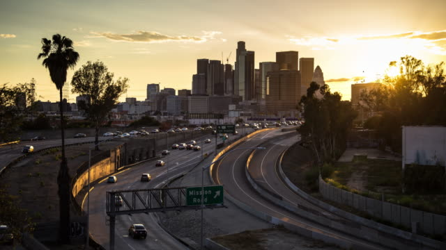 Sunset on LA Freeway - Time Lapse