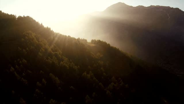 Sunset on Mountain - Aerial View