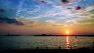 Sunset on Robert F Wagner Junior Park bay