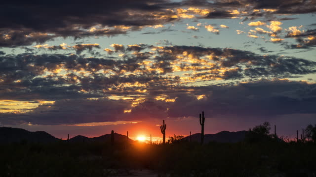 Sunset on Western American Desert - Time Lapse