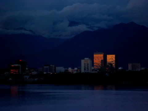 T/L sunset over city, Anchorage, Alaska, USA