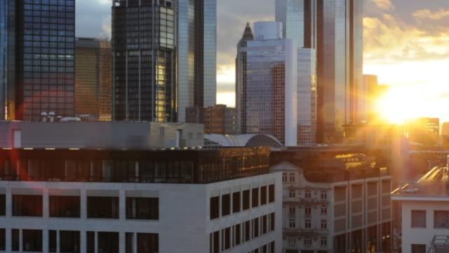 Sunset over Frankfurt financial center timelapse, Germany (HD720p)