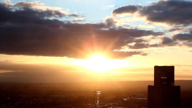 Sunset over Frankfurt Hoechst and Taunus mountains